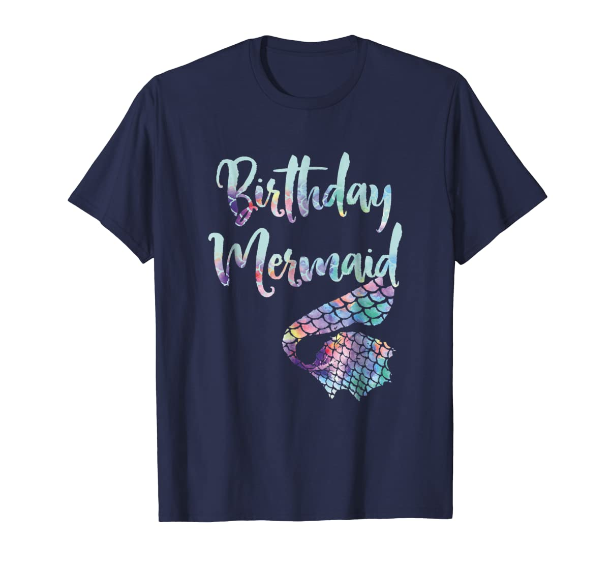 Birthday Mermaid Shirt-Men's T-Shirt-Navy