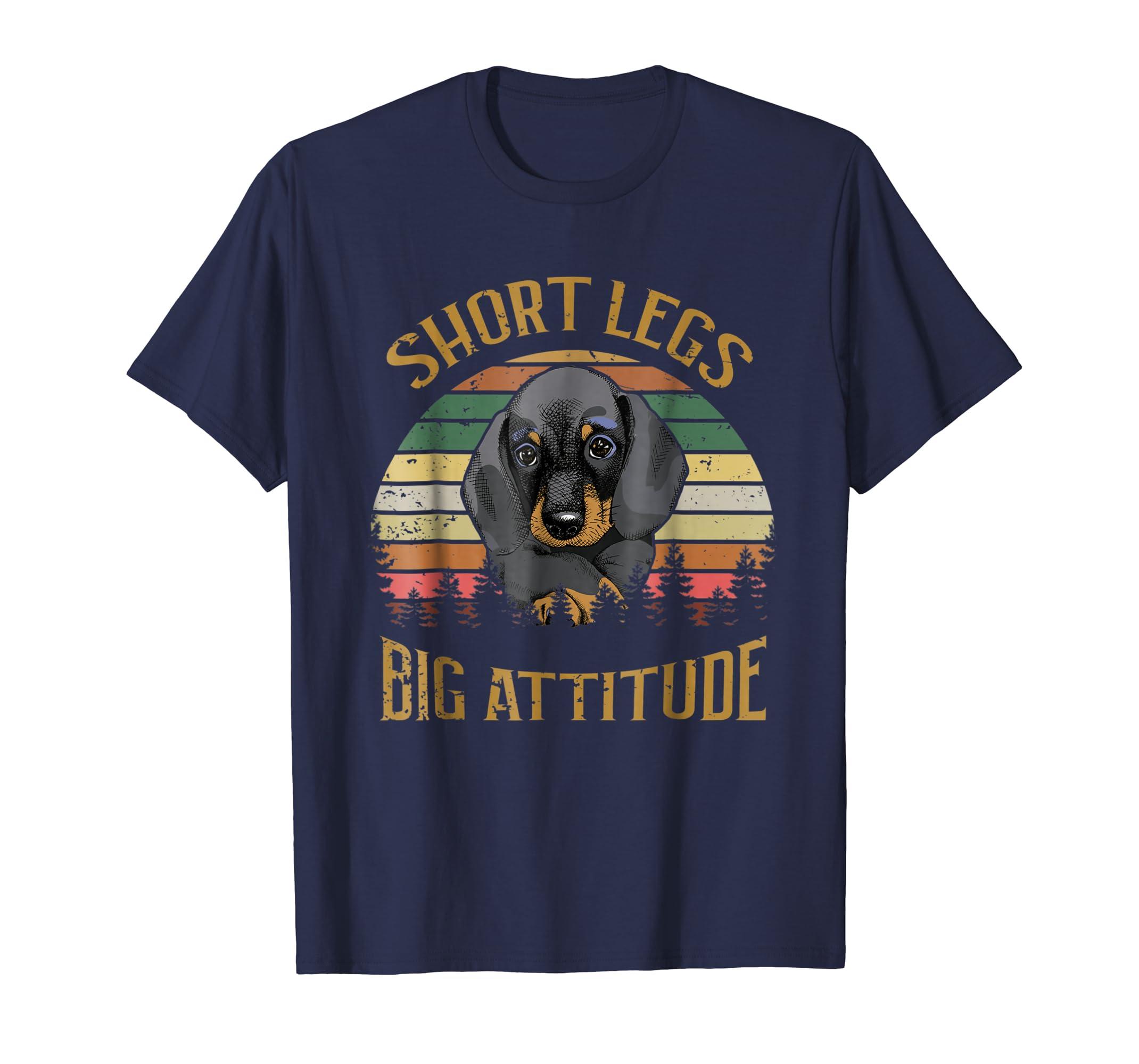 Retro Vintage Short Legs Big Attitude Dachshund Dog Tshirt-azvn
