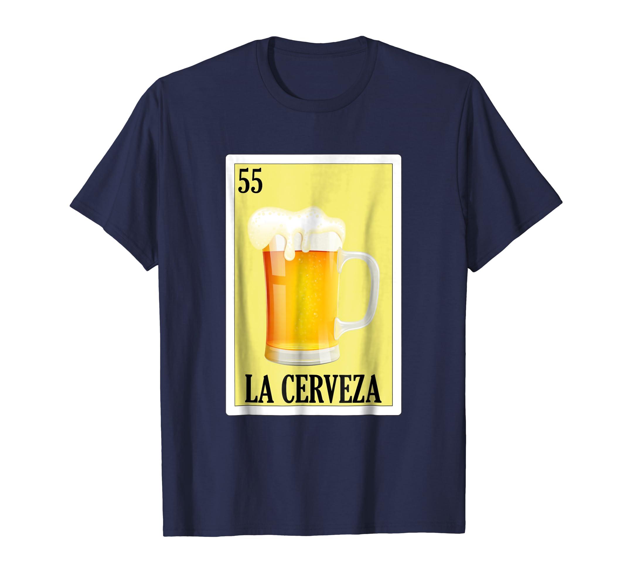 Amazon.com: Loteria Shirts - La Cerveza T Shirt Classic Version: Clothing