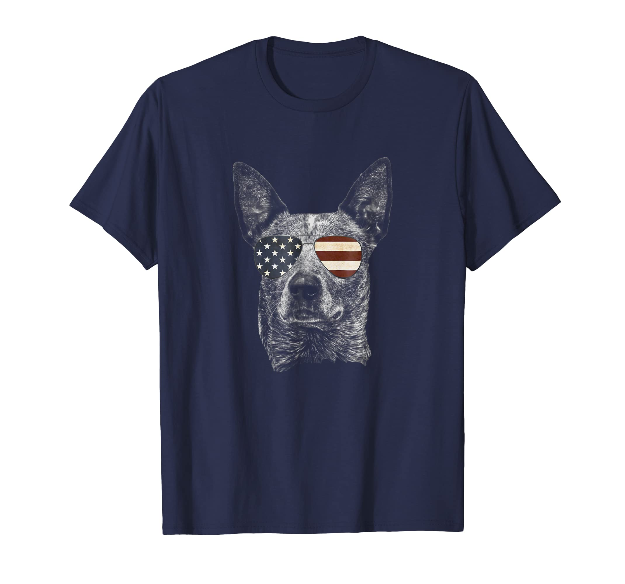Australian Cattle Dog T-shirt with USA flag sunglasses-AZP