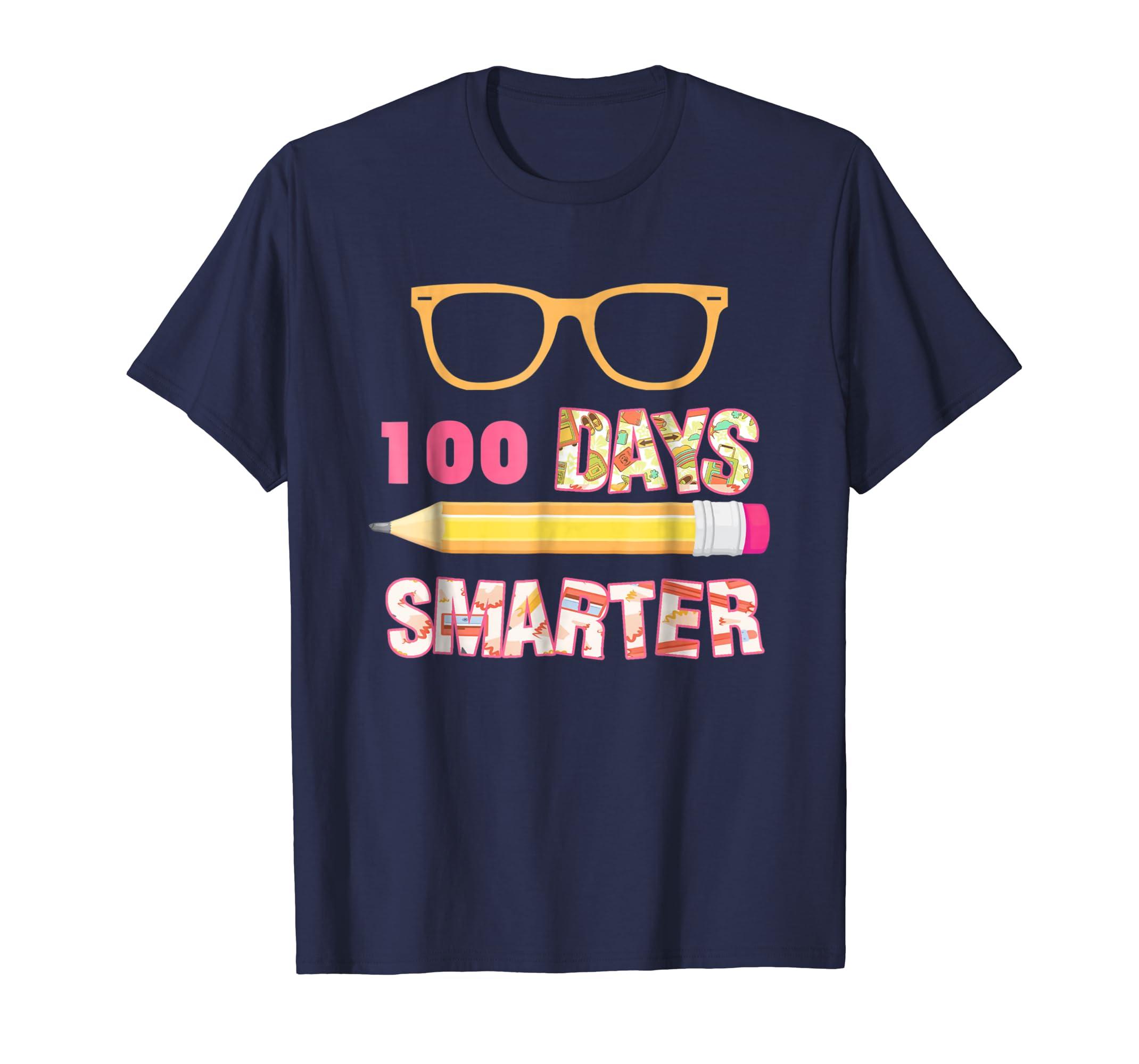 100 Days Smarter Funny 100 days of School Shirt Girl Boy Kid-azvn