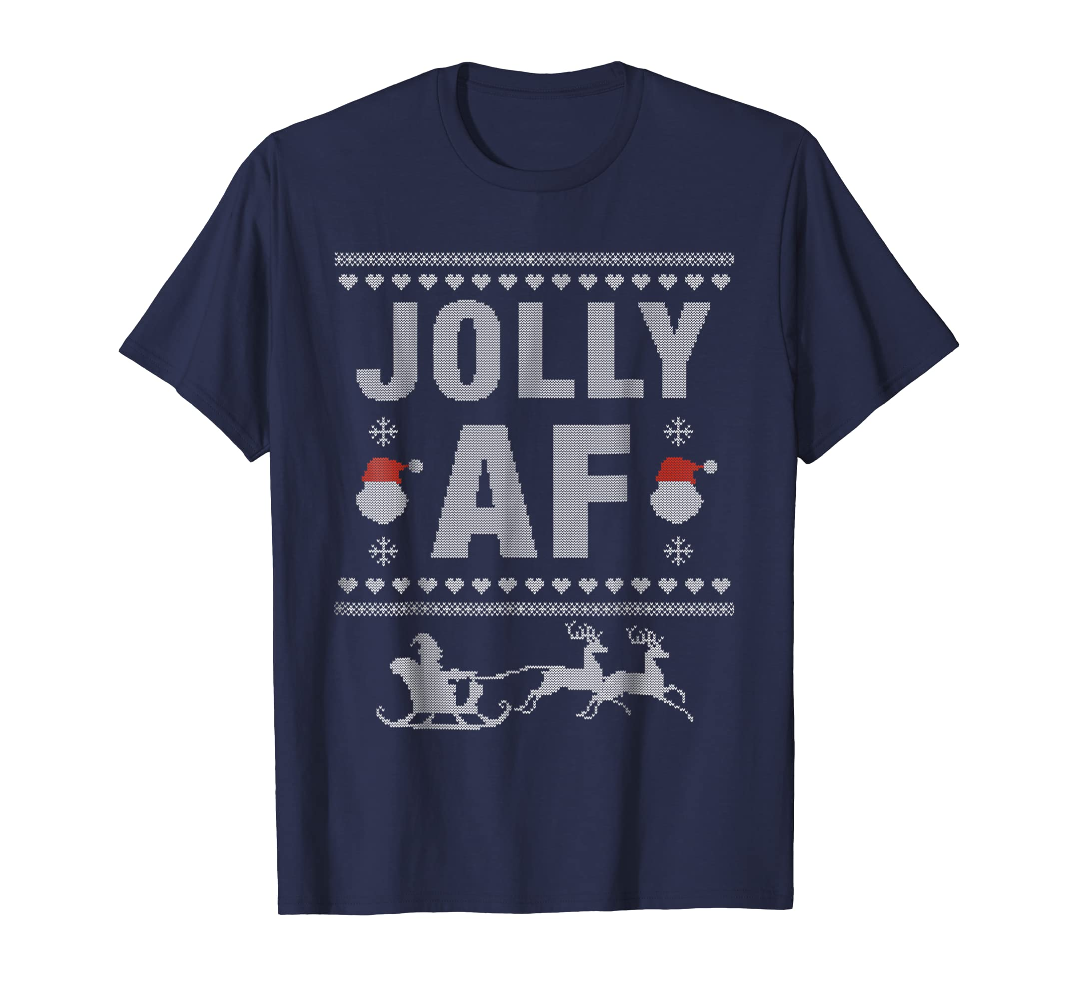 Awesome Funny Jolly AF Ugly Christmas T Shirt with Santa-azvn