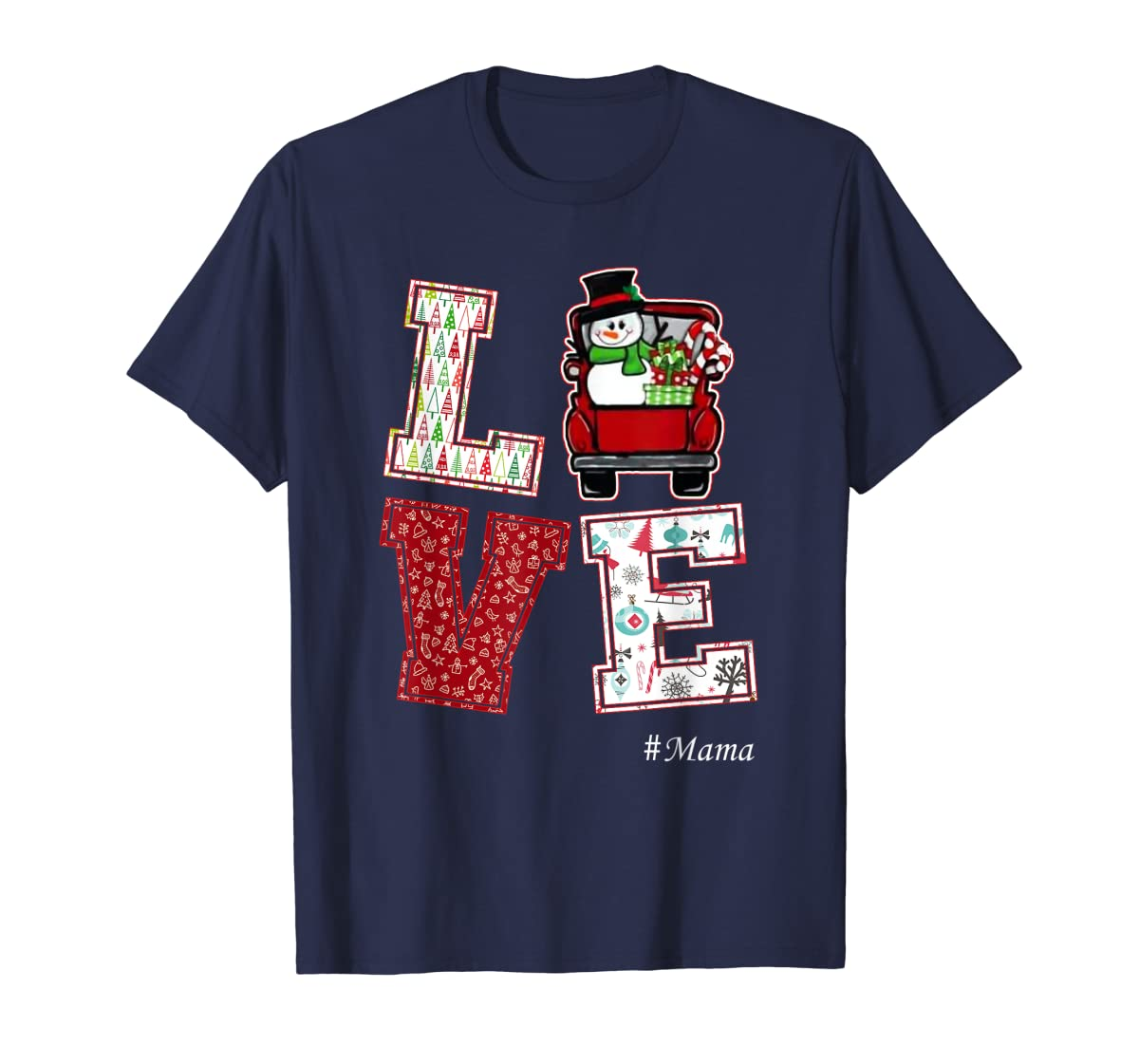 Christmas Love #Mama T-Shirt-Men's T-Shirt-Navy