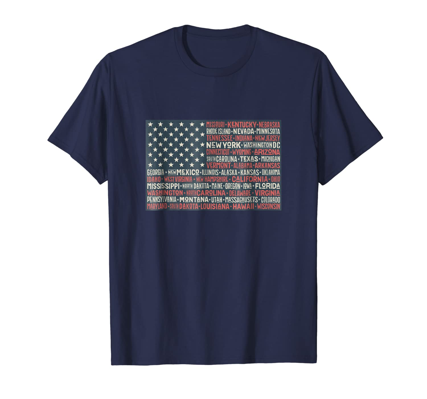 July 4th USA Flag States Words Art Patriotic T-Shirt