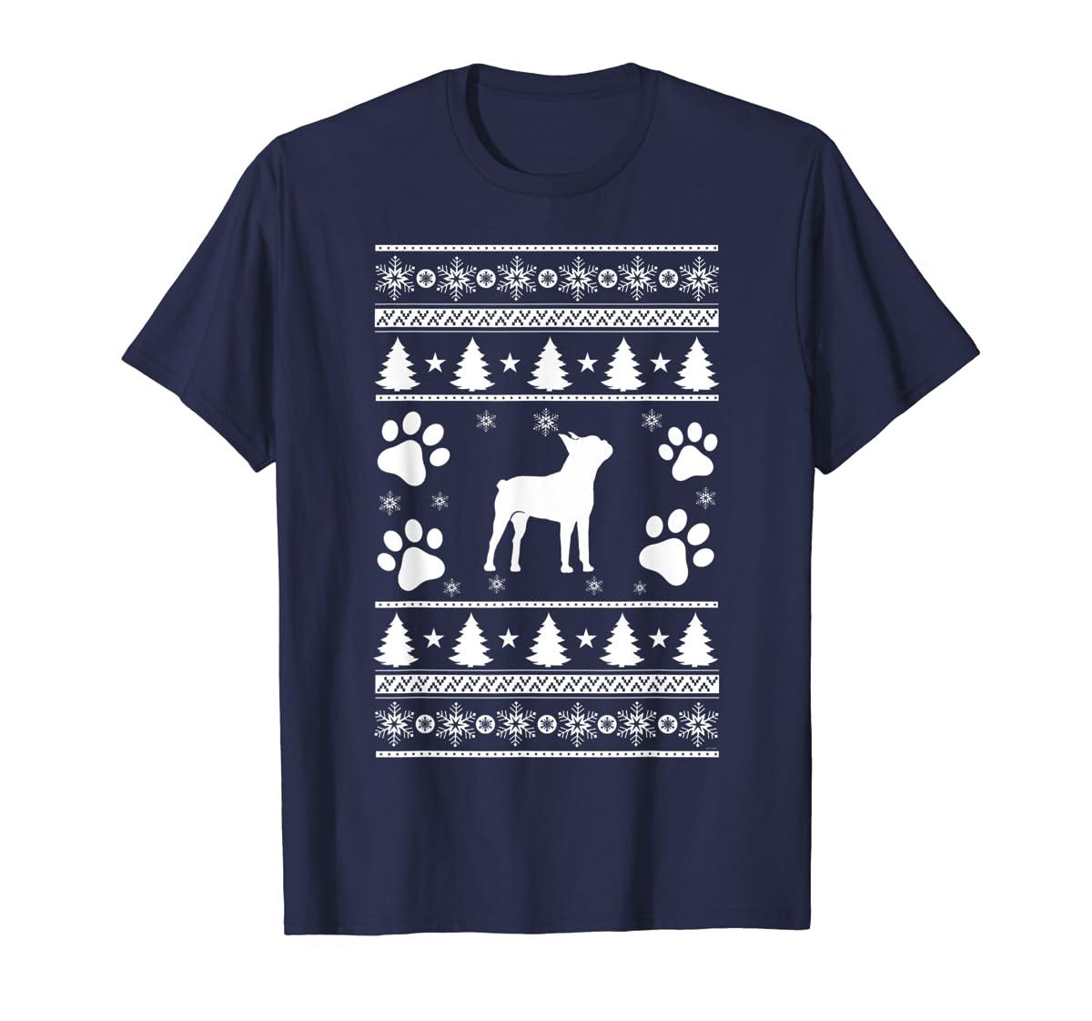 Boston Terrier lovers ugly christmas gift T-Shirt-Men's T-Shirt-Navy