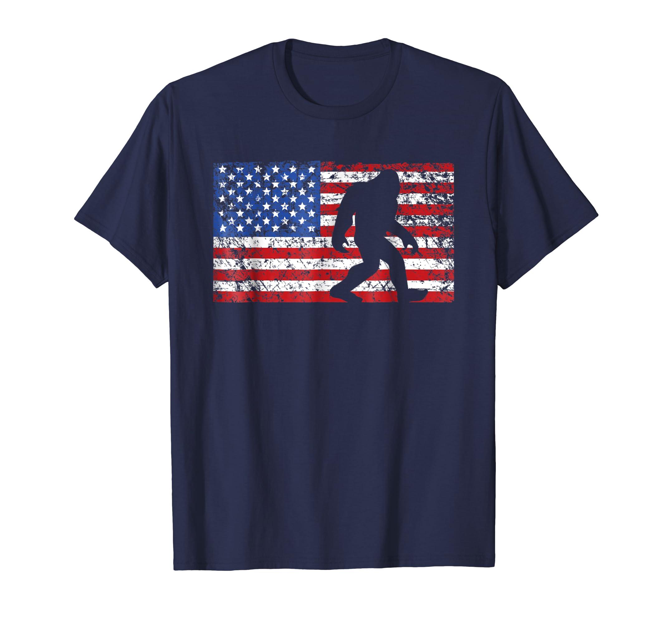 American Flag Bigfoot T Shirt, Funny 4th of July Sasquatch-azvn
