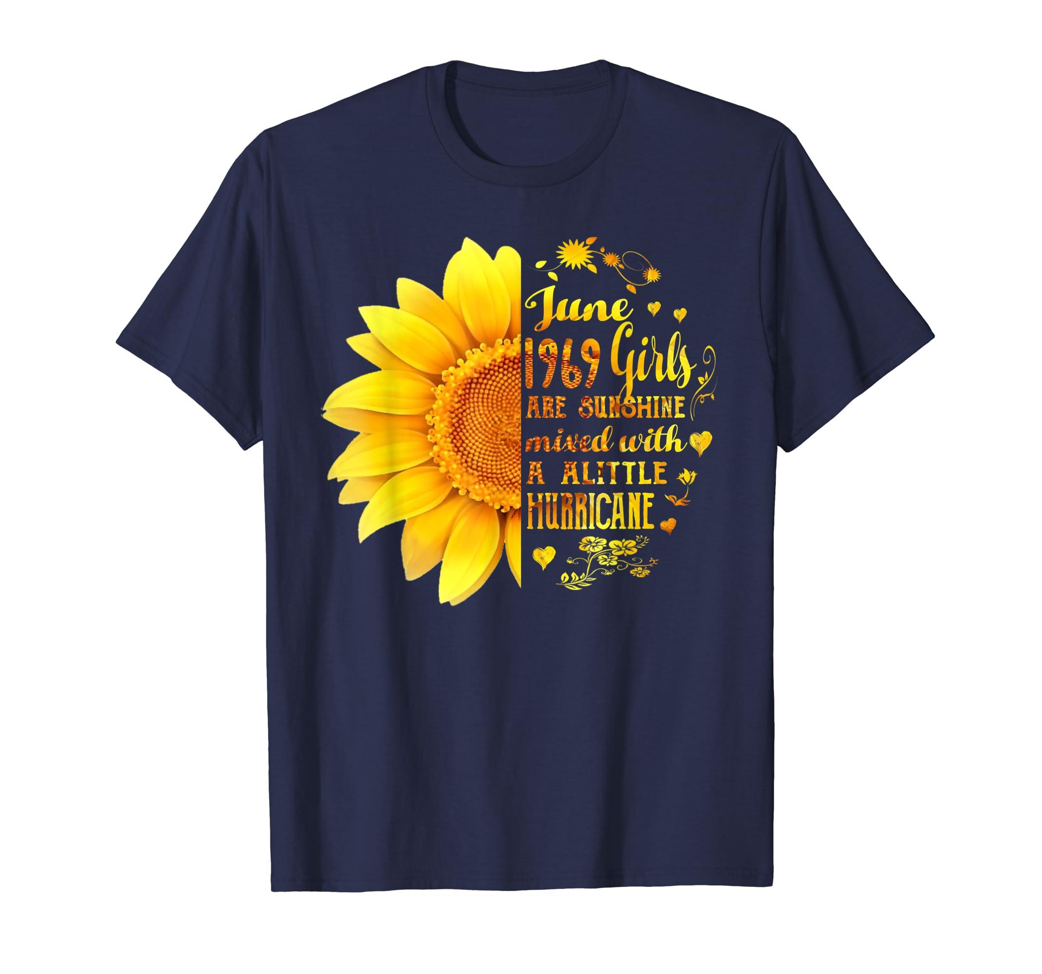Amazon Womans June Girls 1969 Shirt 50th Birthday Sunflower T Clothing