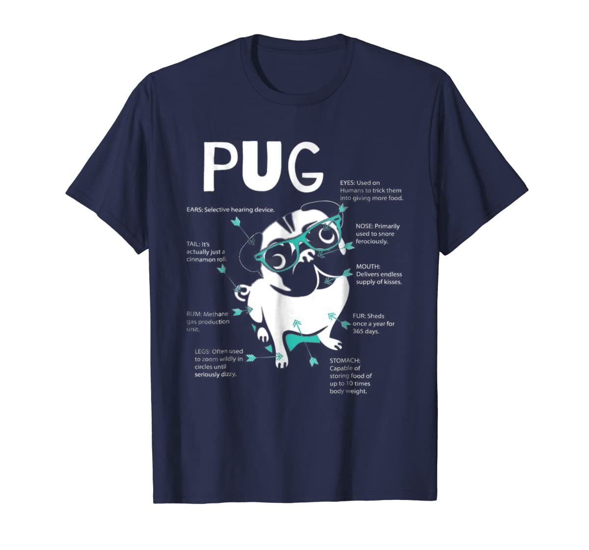 Anatomy Of A Pug Tshirt-Men's T-Shirt-Navy
