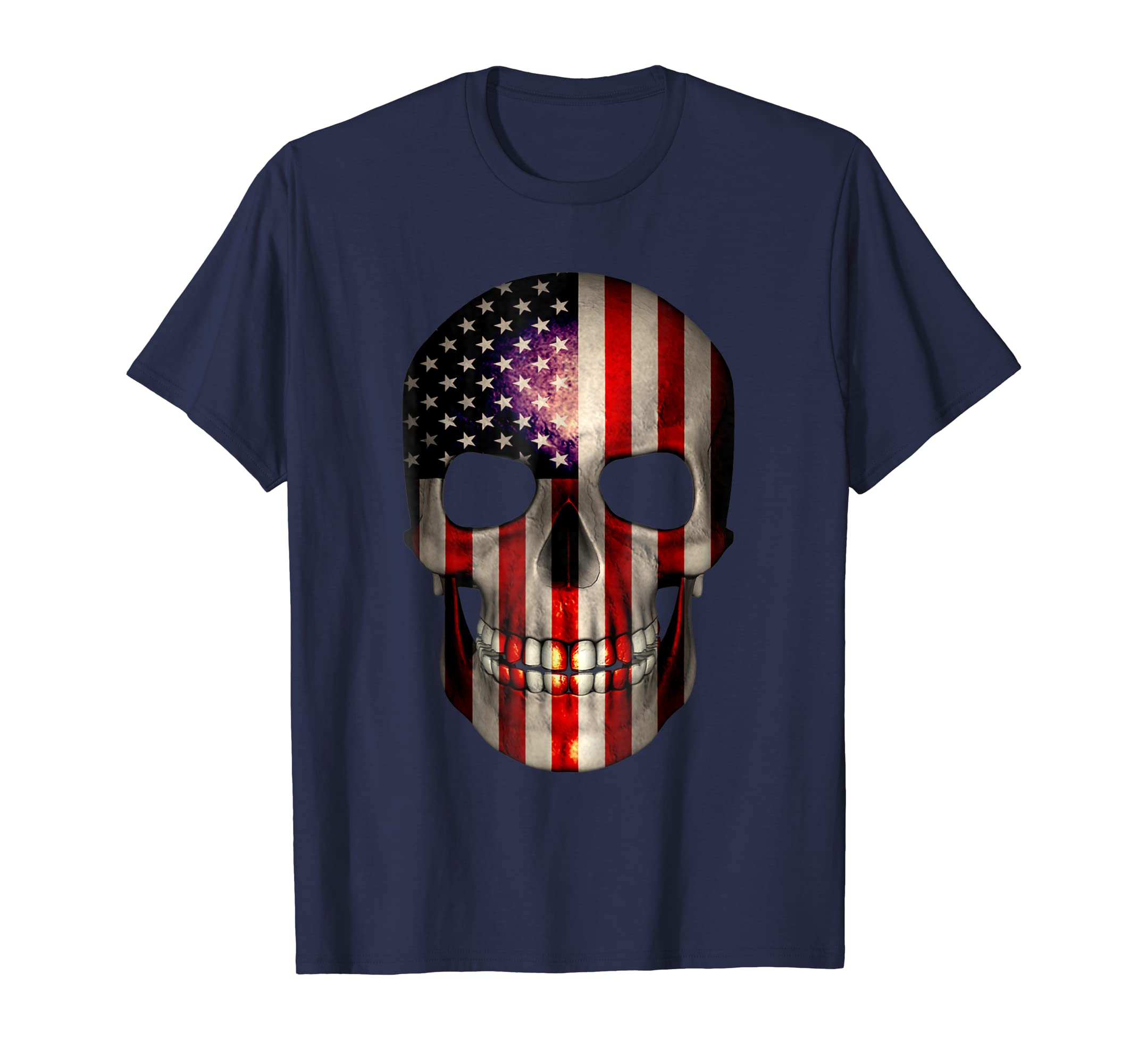 4th of July T Shirt American Flag Skull USA Birthday Gift-mt