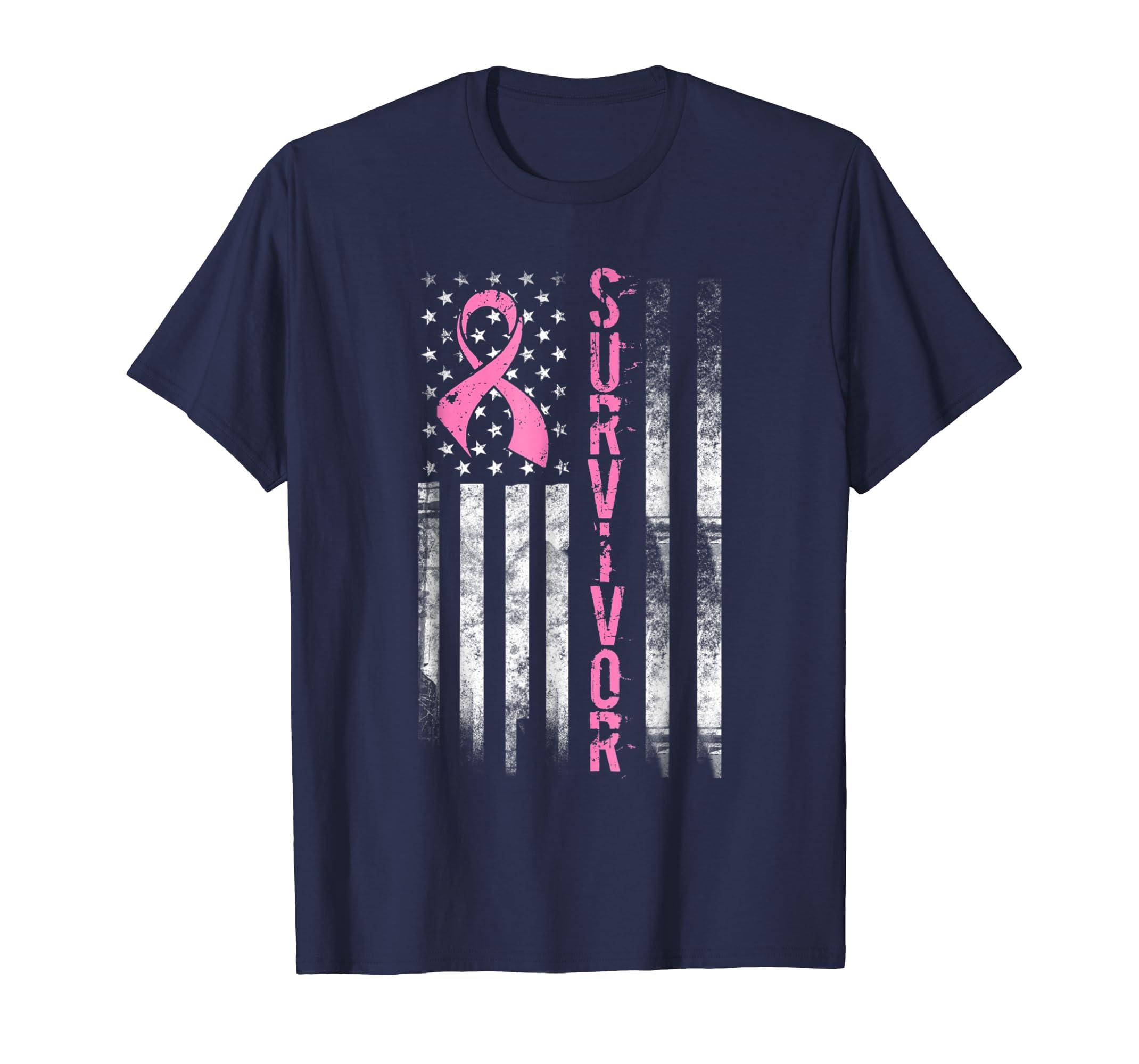 Cool Breast Cancer Survivor T shirt   Women Pink Flag Shirt-Teesml
