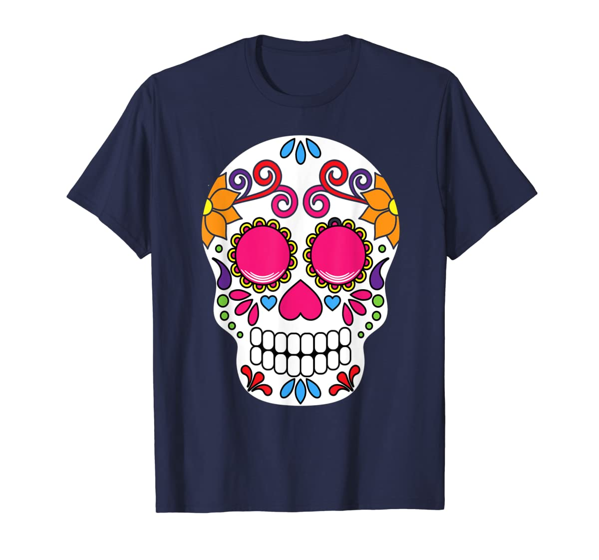 Colorful Day Of The Dead Sugar Skull Halloween T-shirt-Men's T-Shirt-Navy