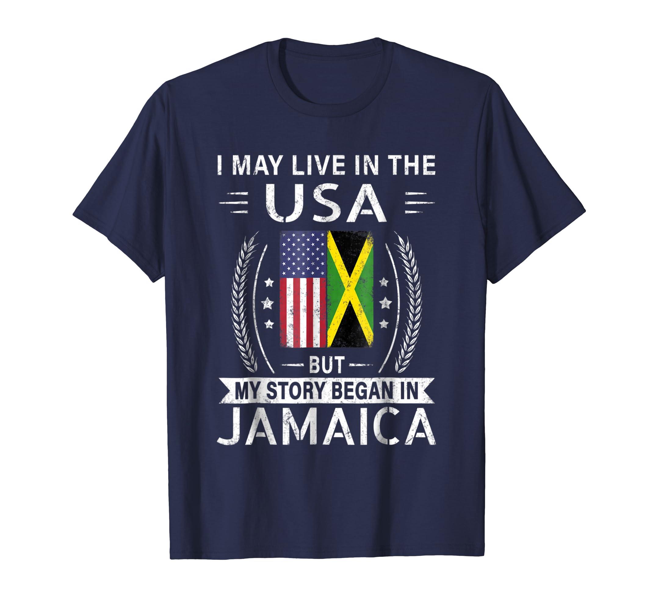 American Jamaican Flag Shirt   My Story Began In Jamaica-azvn