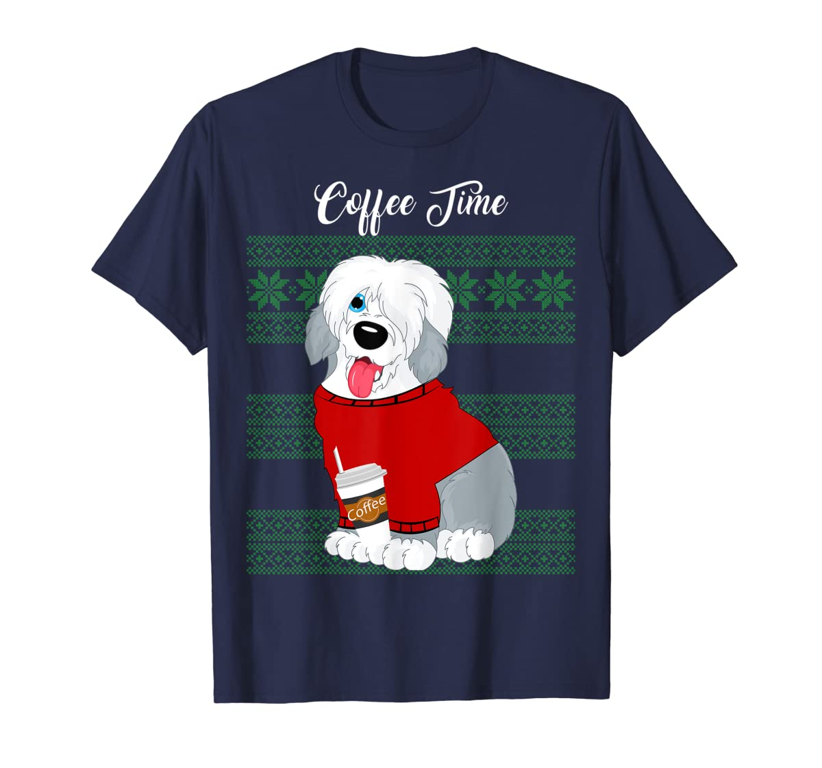 Old English Sheepdog Christmas Coffee Time Dog Long Sleeve-Men's T-Shirt-Navy