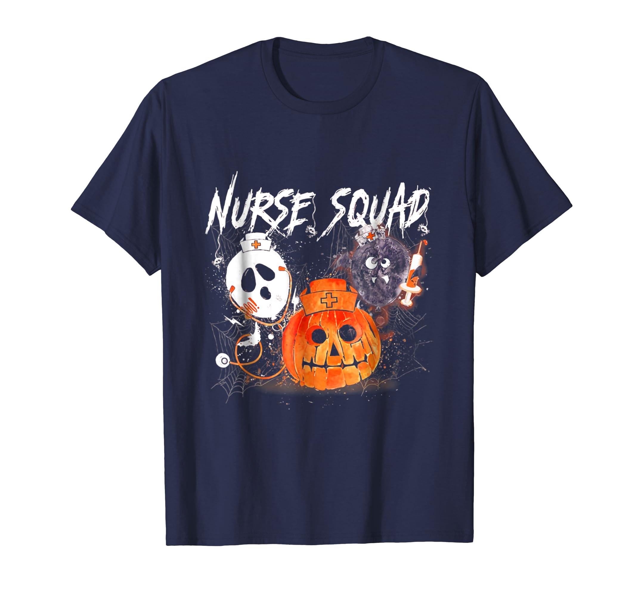 8c15445b4aa15 Nurse Squad Funny Halloween Pumpkin Costume T Shirt-Colonhue – Colonhue.com