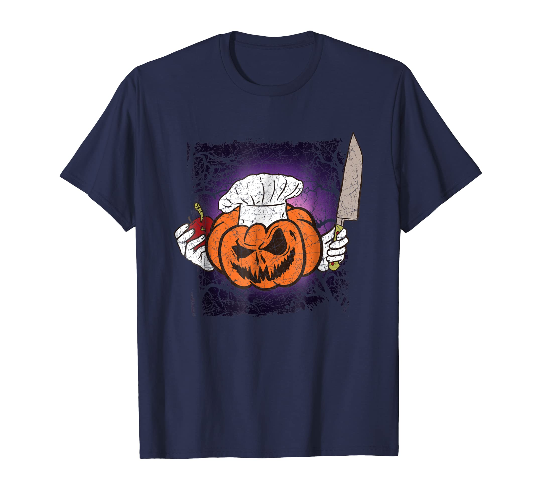 Halloween Scary Evil Chef Cook Pumpkin With Knife T Shirt-ln