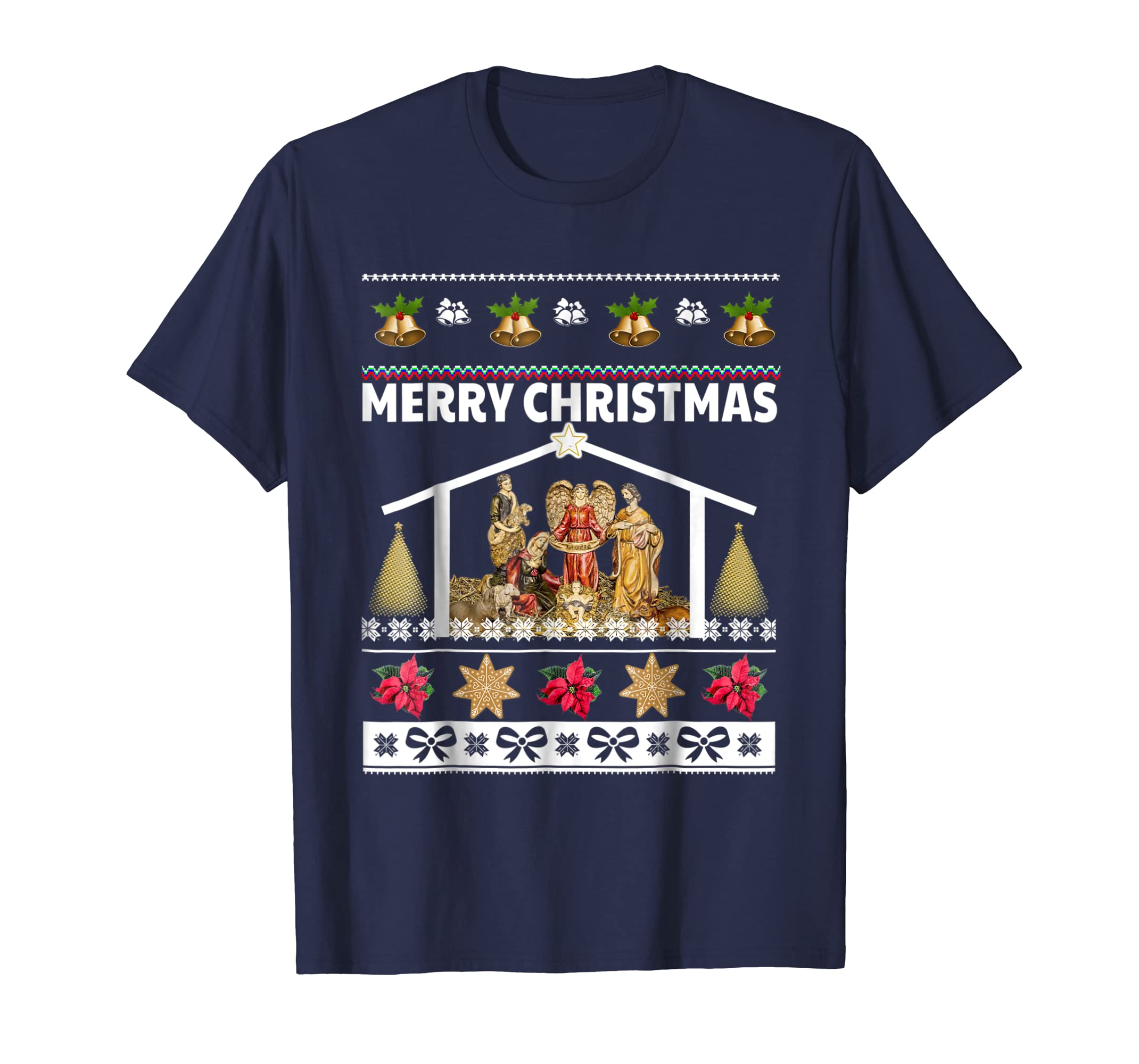 Merry Christmas Nativity Scene Shirt Jesus Christ Manger-azvn