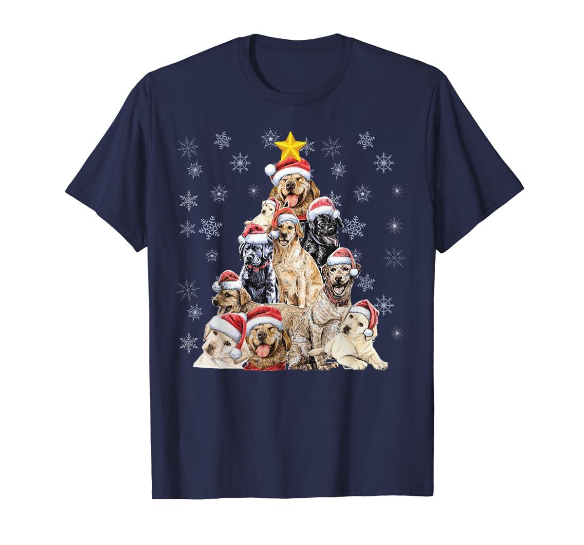 Labrador Retriever Dog Christmas Funny T-Shirt-Men's T-Shirt-Navy