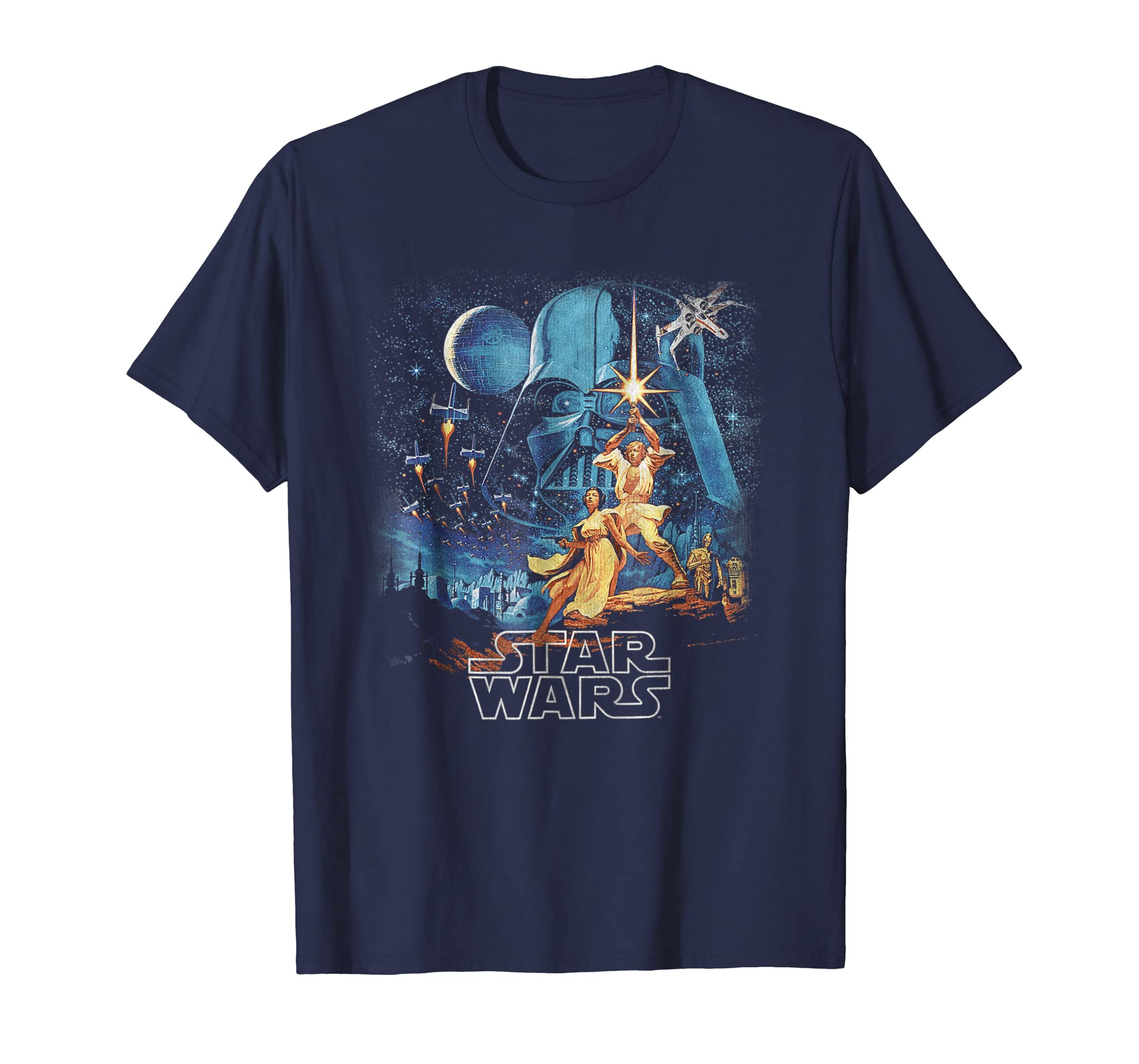A New Hope Faded Vintage Poster Graphic T Shirt-azvn