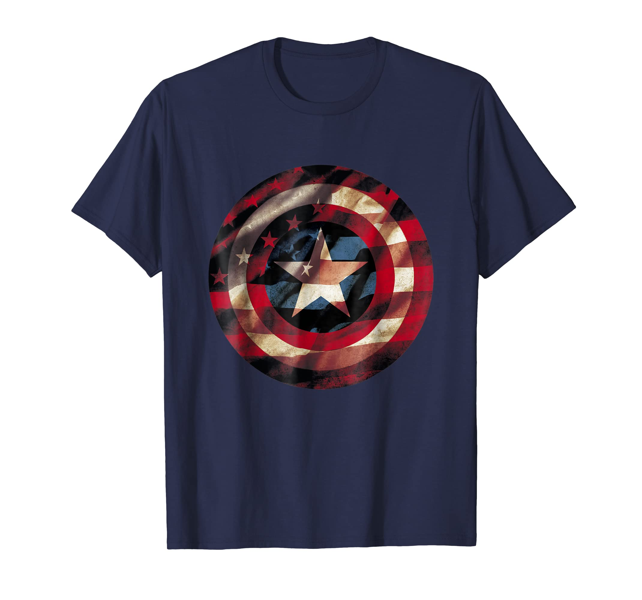 Captain America Avengers Shield Flag Graphic T Shirt-azvn
