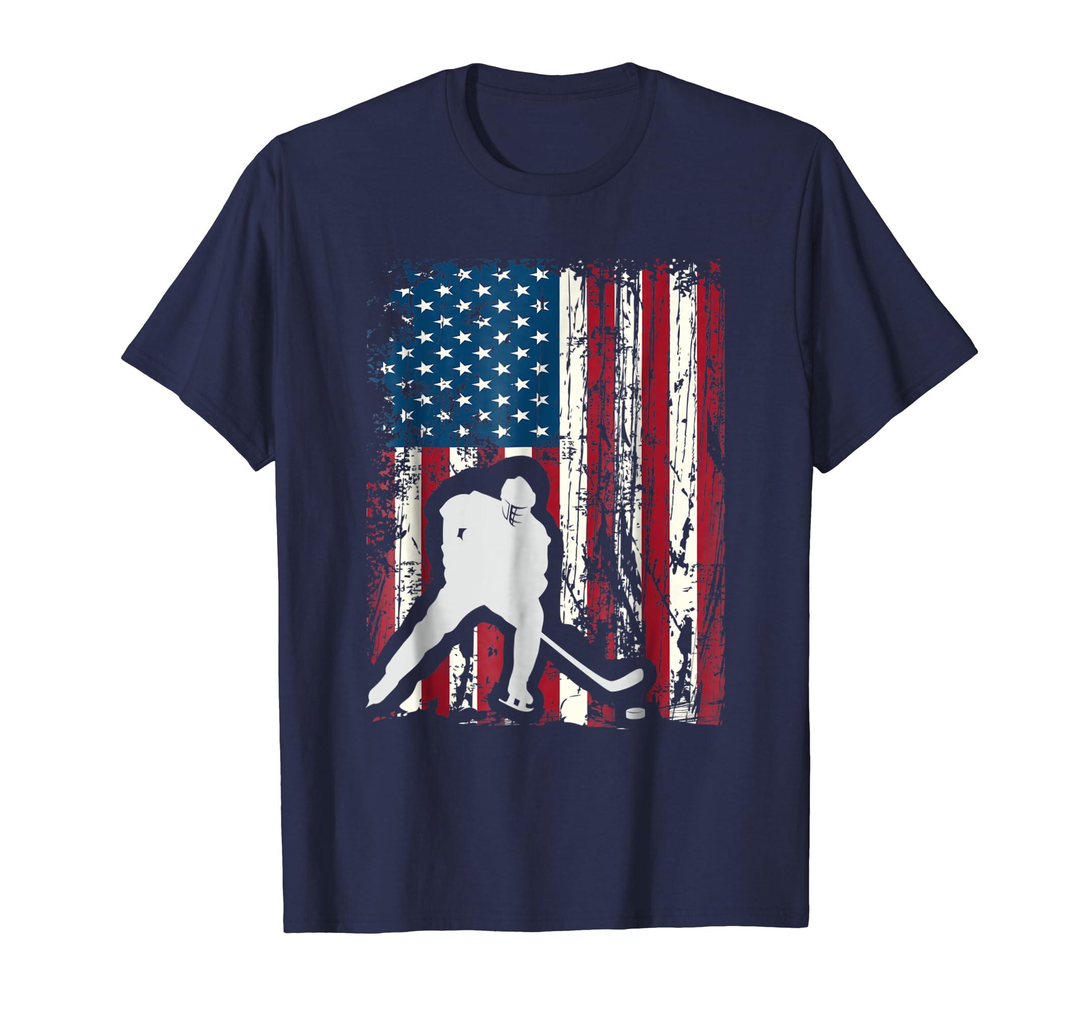 American Flag Cool USA Player Jersey Hockey Gift Shirt Tee-azvn