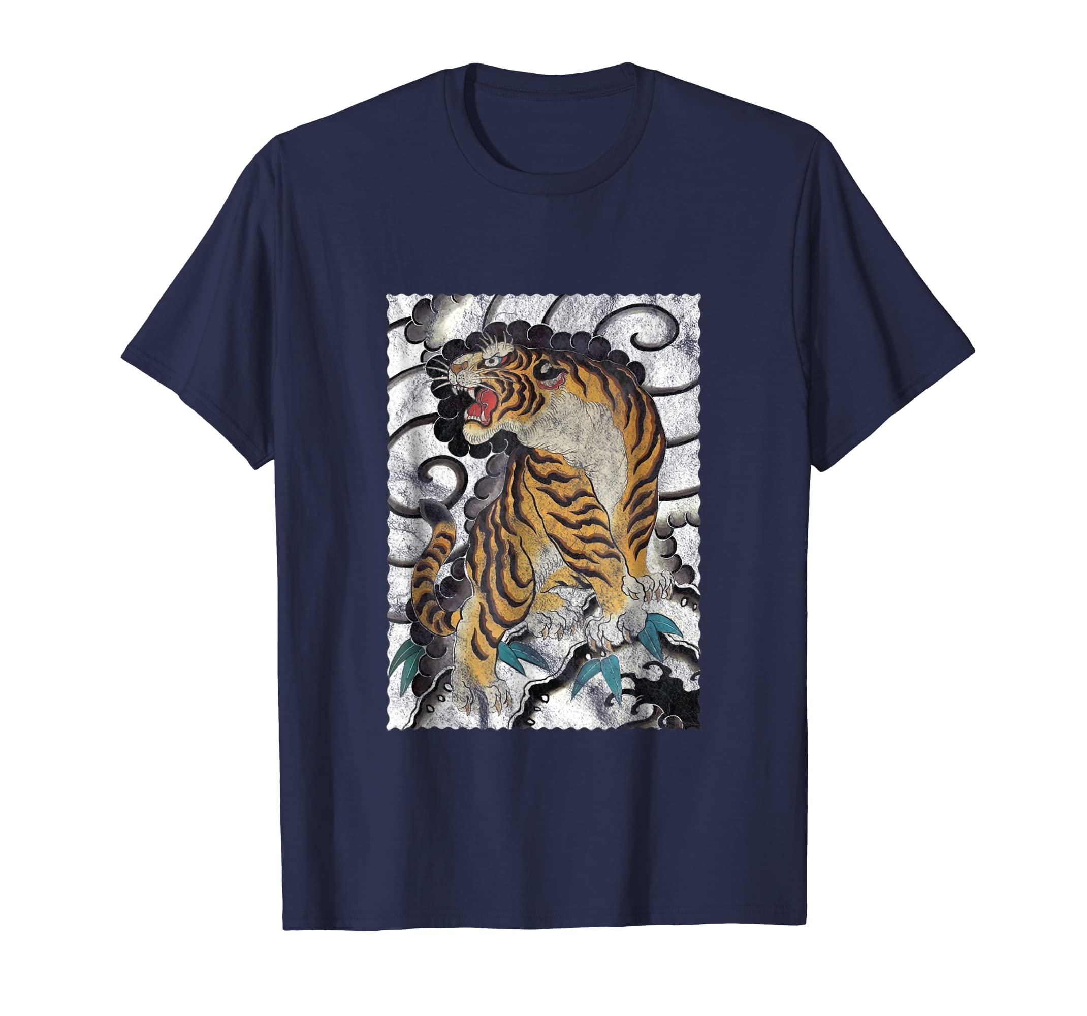 Tattoo Style Japanese Tiger Traditional & T Shirt Design-azvn