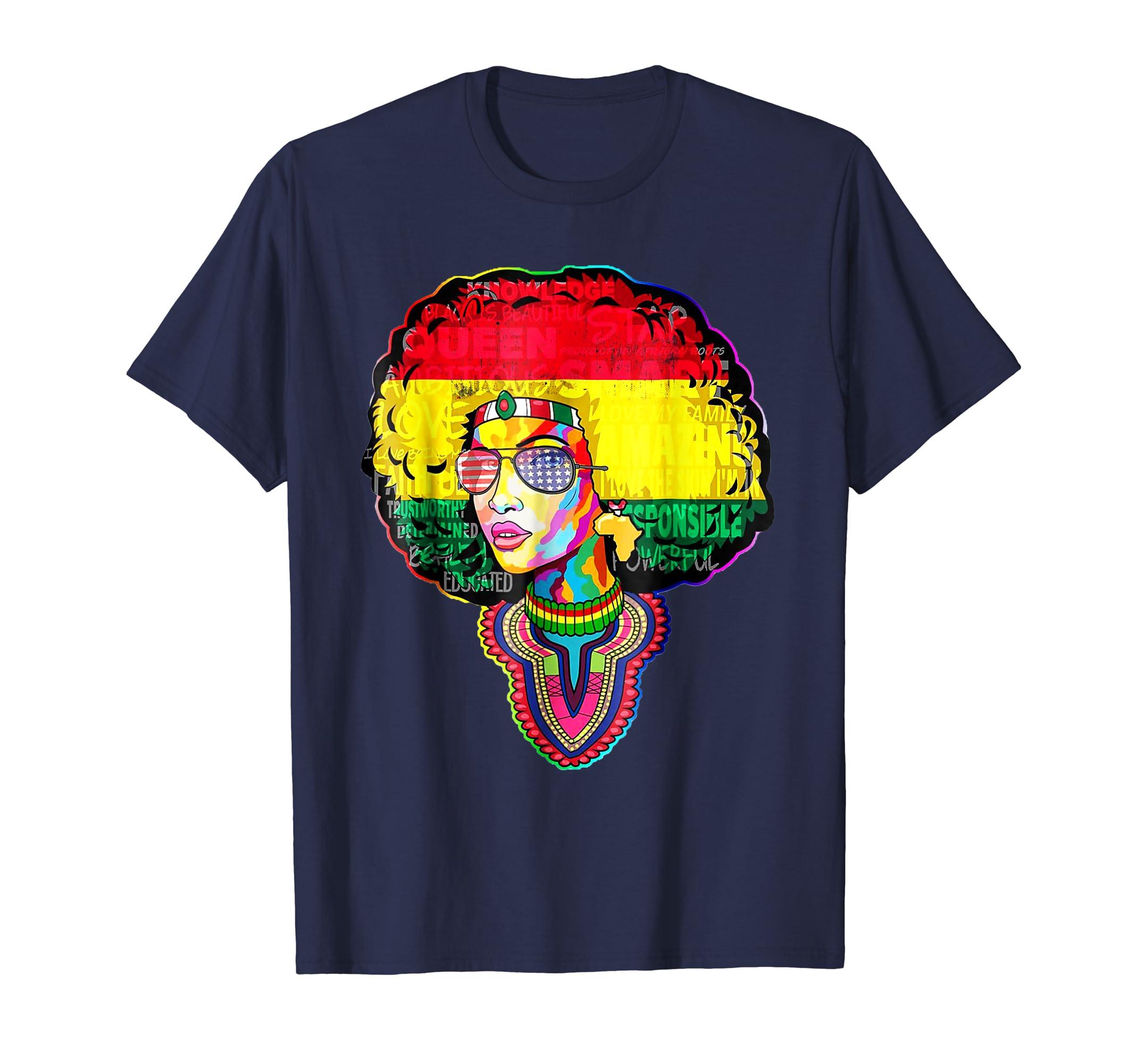 Afro Black Women Shirt Dashiki Afro Black Melanin Queen-SFL