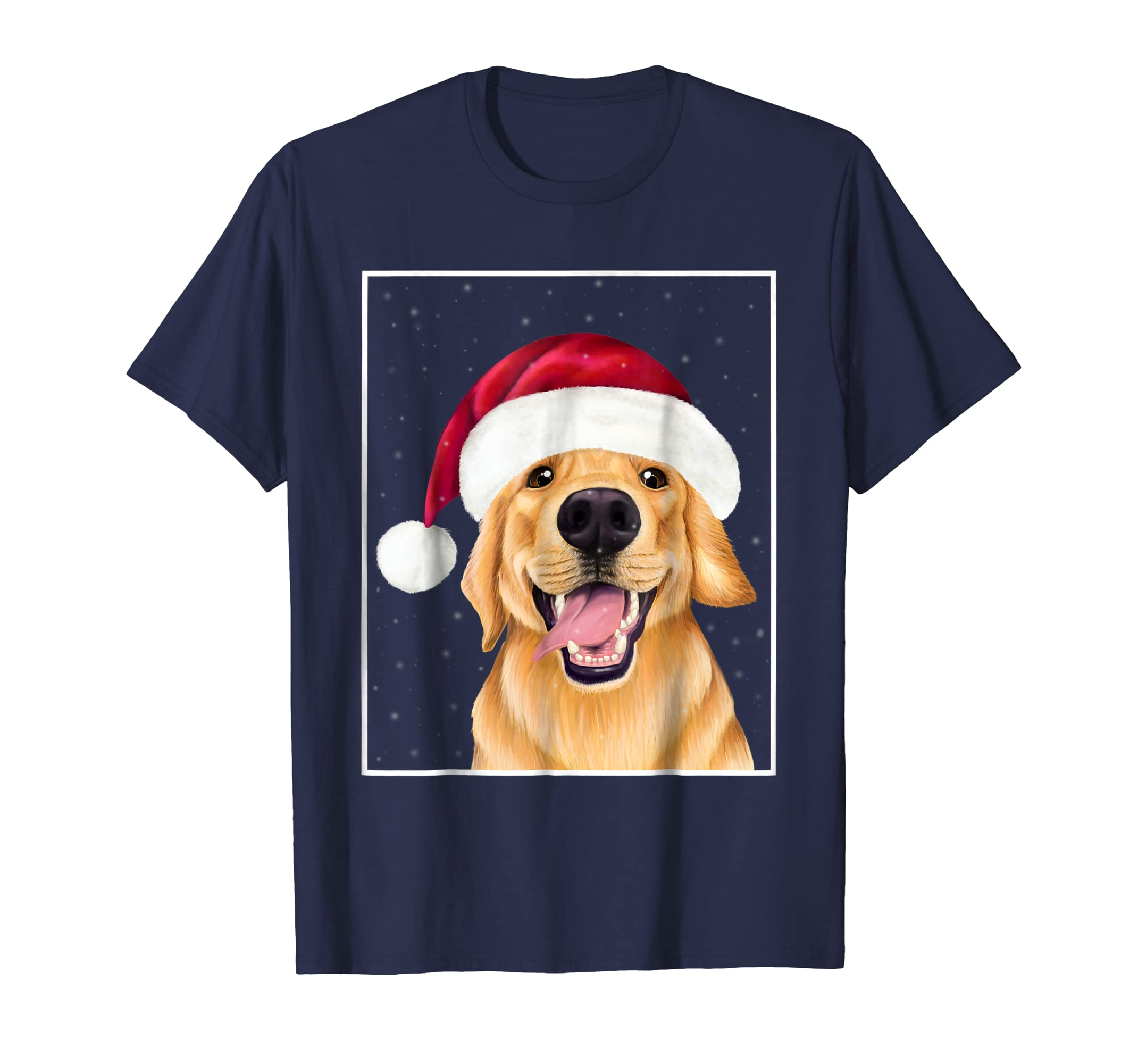 Golden Retriever in a Santa Hat   Christmas dog shirt-azvn