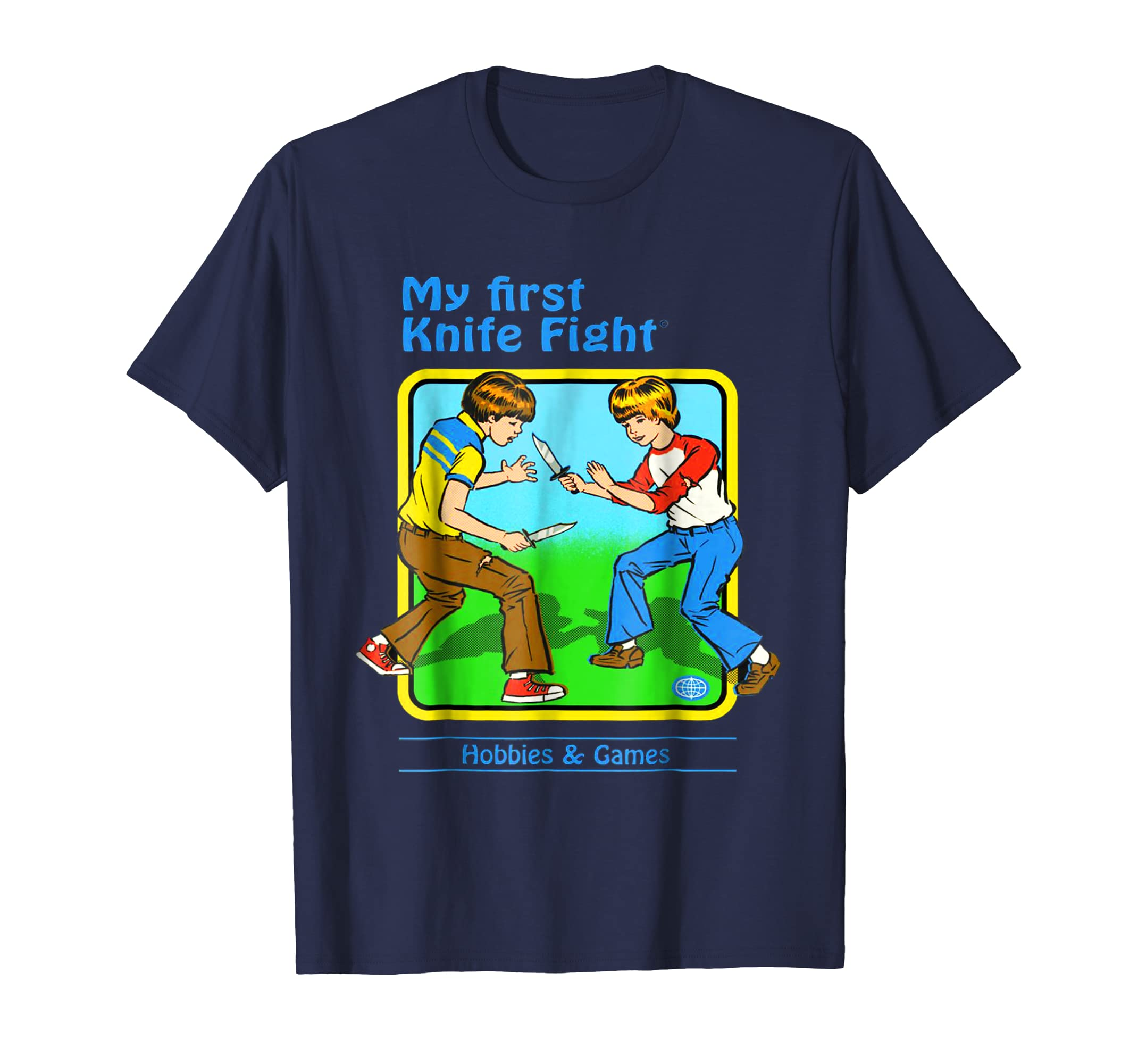 'My First Knife Fight' Funny Retro 70s T Shirt-Awarplus