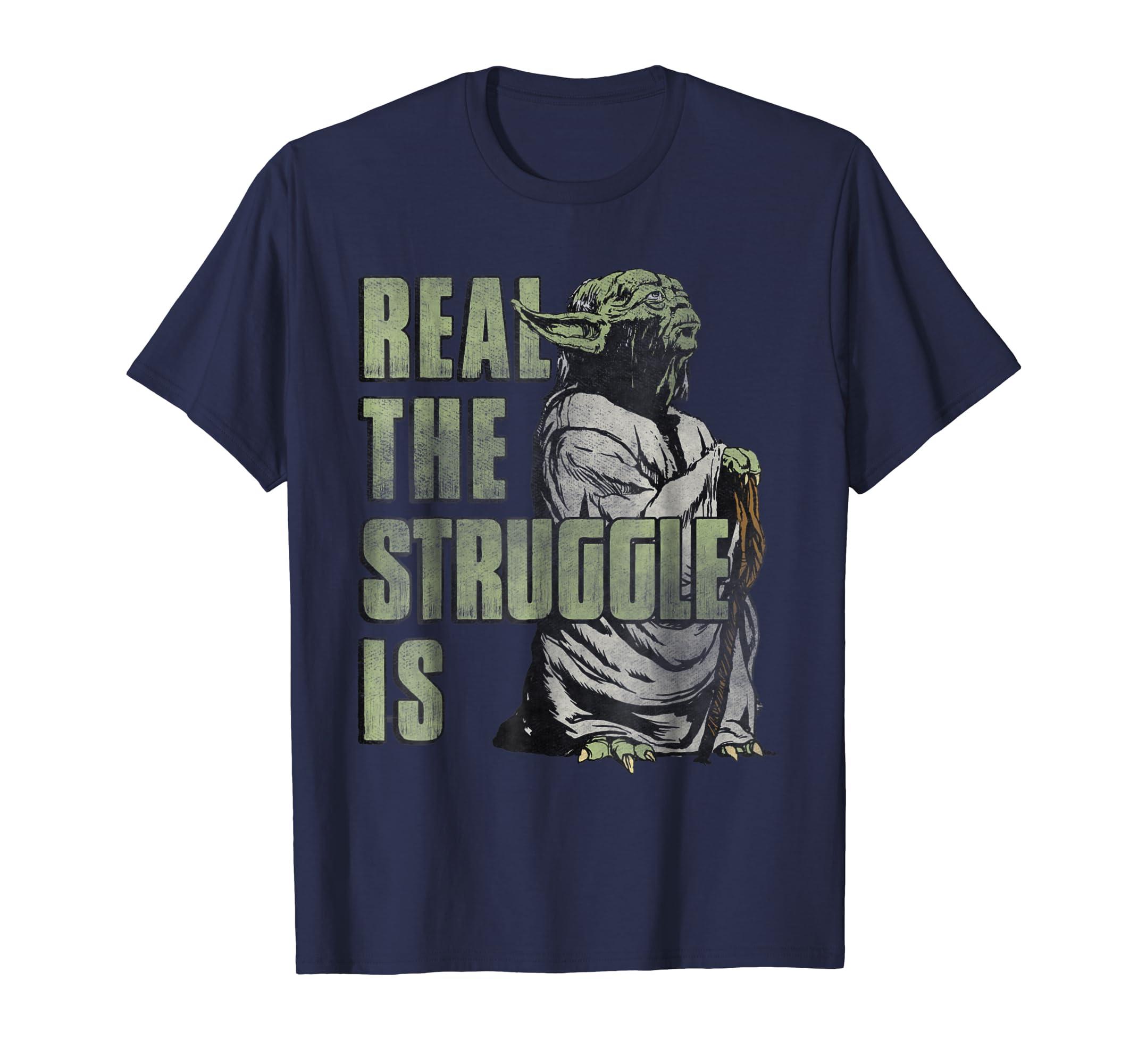 43fa7568 Amazon.com: Star Wars Yoda Real The Struggle Is Graphic T-Shirt: Clothing