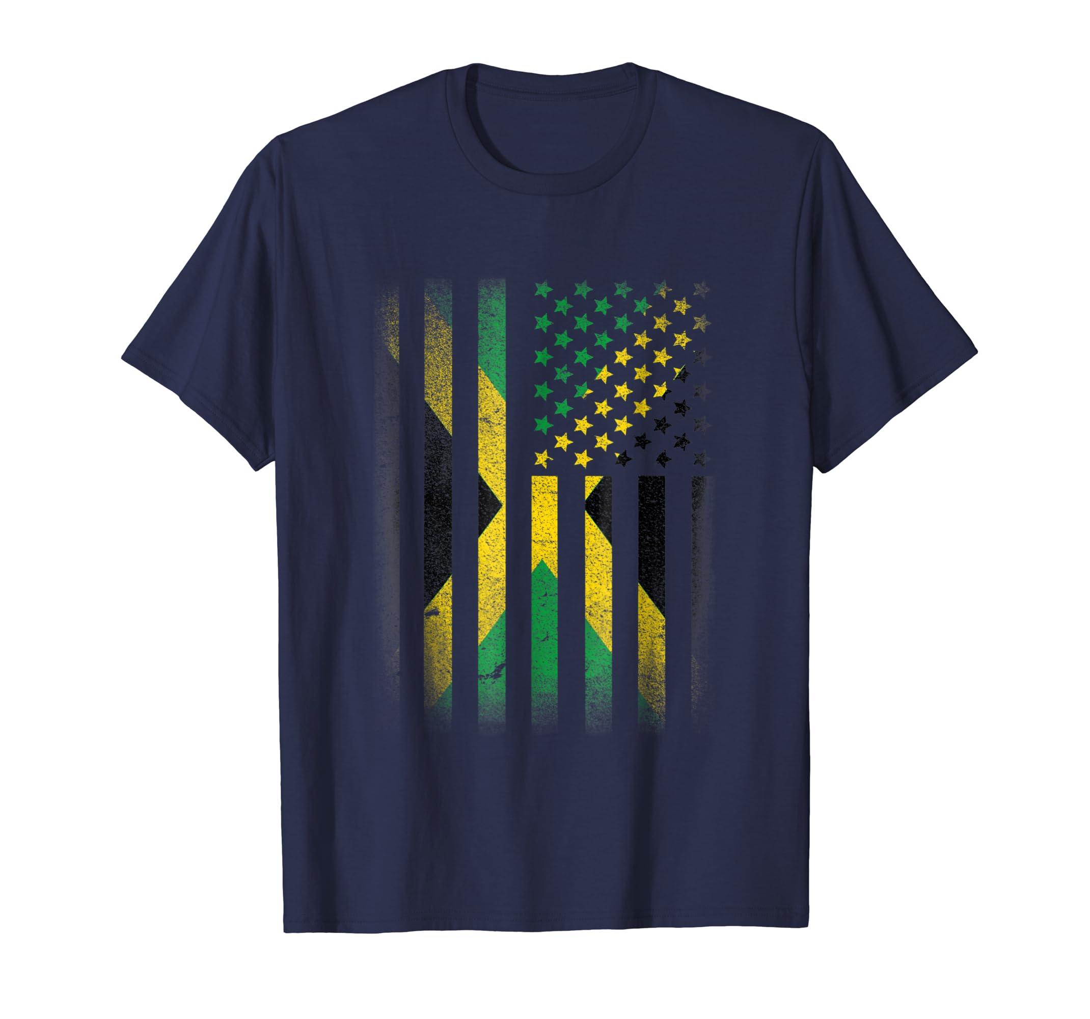 Jamaican American Flag T shirt Jamaica Usa America-azvn