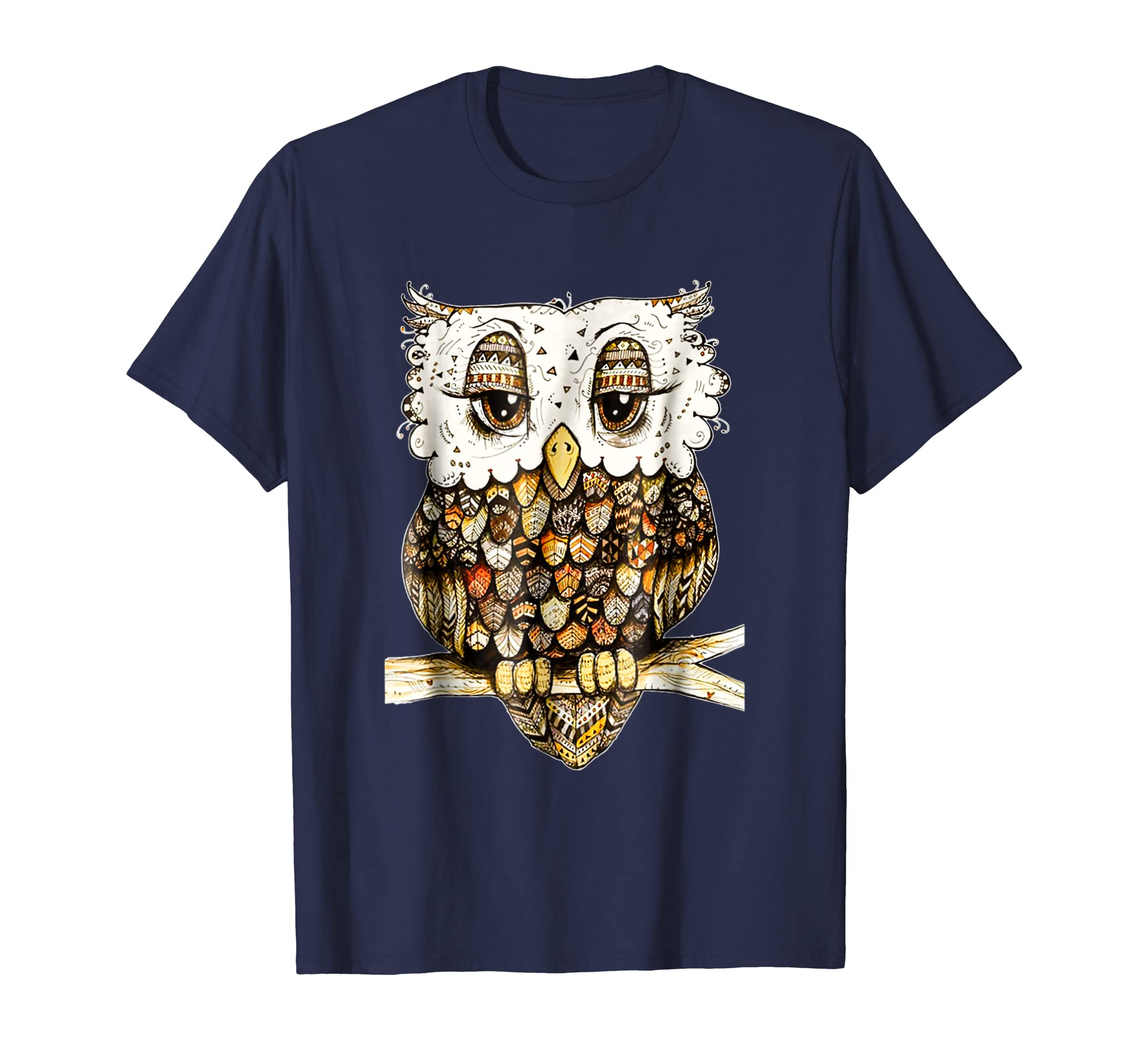 Owl Brocade T-shirt Gift For Women Girls-AZP