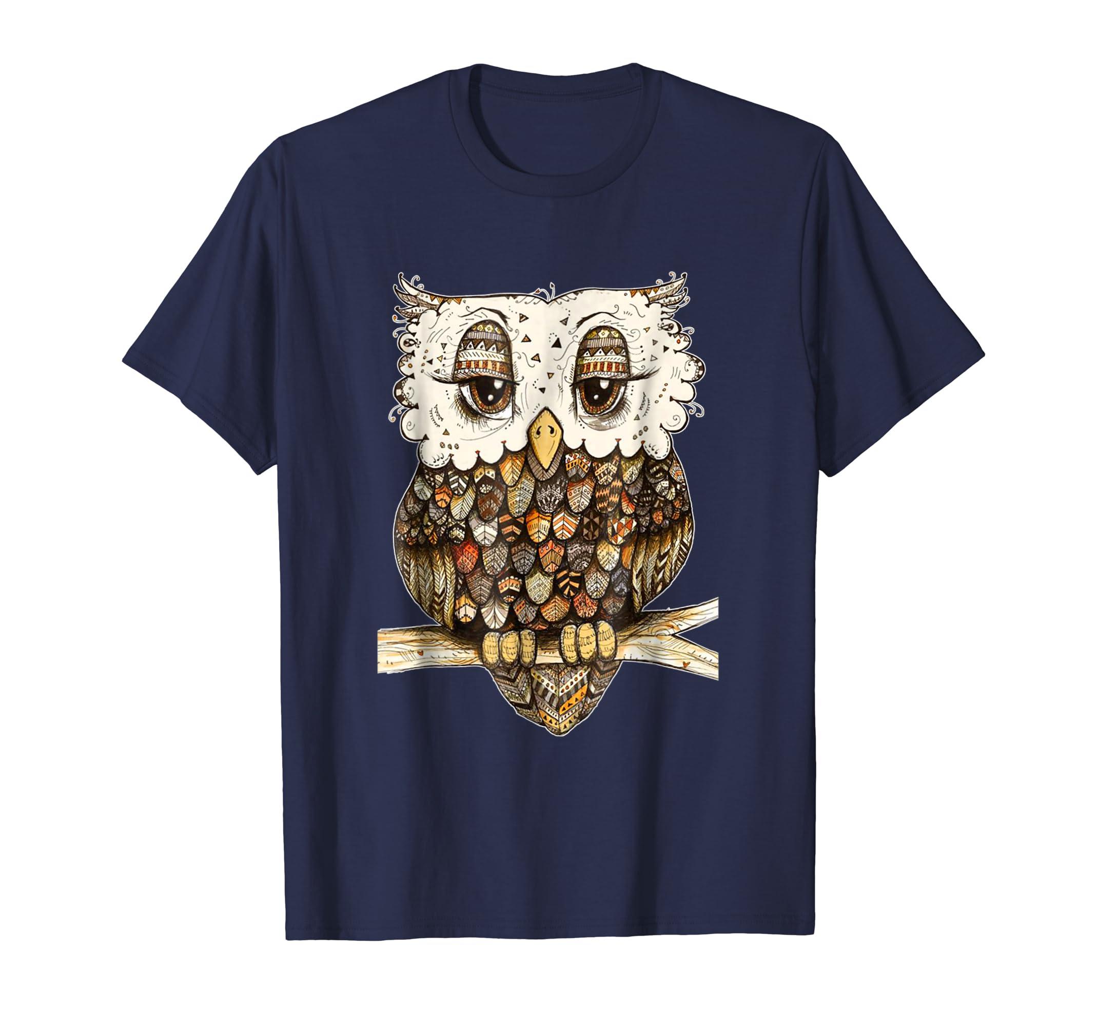 Owl Brocade Owl Shirt For Women Girls-mt