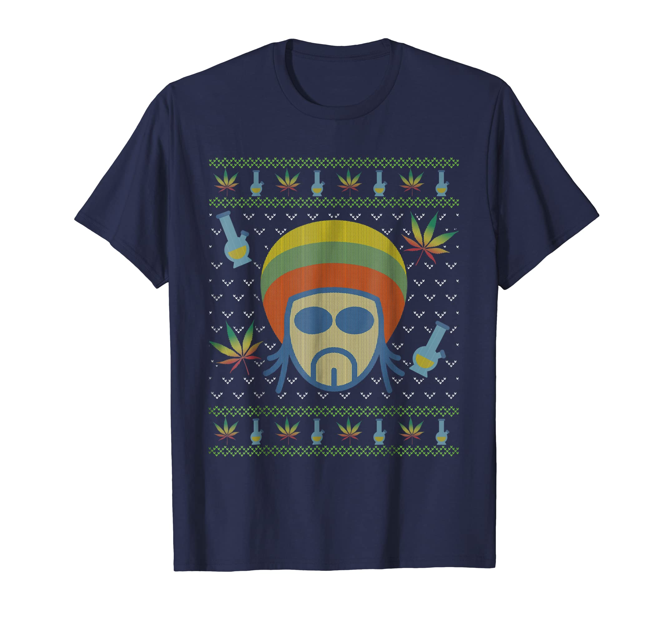 Christmas Rasta Marijuana Ugly Style T Shirt-azvn
