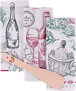 ViKei Wine Tea Towels Set - Unique Kitchen Housewarming Gift Idea of 3 Dish Towels with Wooden Spatula in Beautiful Box for Women Men New Home