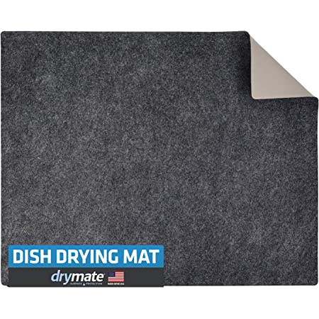 S/&T INC Grey Extra Large Silicone Dish Drying or Trivet Mat Heavy Duty 18 Inch x 21 Inch