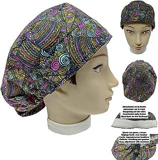 Cappello sala operatoria donna ETNICO per Capelli Lunghi Asciugamano assorbente sulla fronte facilmente regolabile medico ...