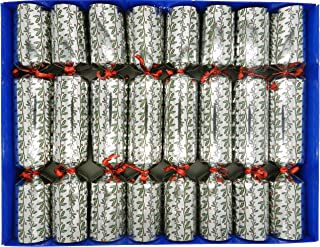 Crackers Ltd Set of 8 Holly and Berry Craquelins in Silver with Magic Tricks Cat F1