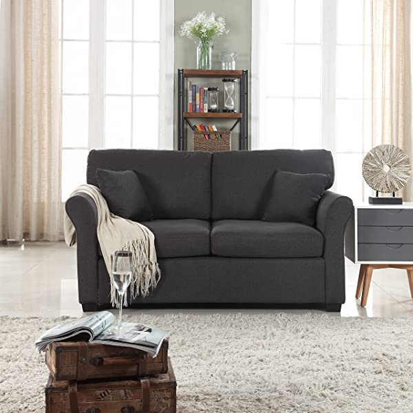 DIVANO ROMA FURNITURE Classic And Traditional Ultra Comfortable Linen Fabric Loveseat Living Room Fabric Couch Dark Grey