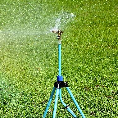 Aqua Joe AJ-IST39BM Indestructible Series Brass Impulse Sprinkler, w/Extendable Tripod up to 39 Inches