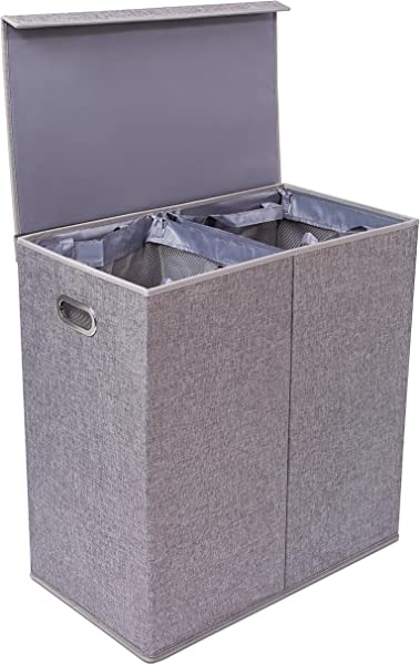 BirdRock Home Double Laundry Hamper With Lid And Removable Liners Linen Hampers Grey Foldable Bin Easily Transport Clothes Cut Out Handles Clothes Basket