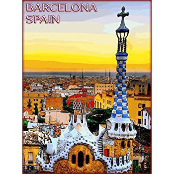 A SLICE IN TIME Barcelona Cityscape Spain Spanish Europe European Travel Advertisement Collectible Wall Decor Poster Picture Print. Poster Measures 10 x 13.5 inches