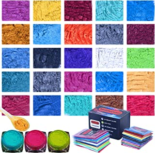Mica Powder for Epoxy - 25 Colors (10g Each), 250g/8.82oz Vibrant Pigment Powder for Lip Gloss, Resin Dye, Soap Making and...