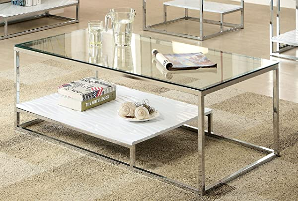Furniture Of America IDF 4231WH C Gacelle Cocktail Table 54 X 17 75 X 26 25 White Silver