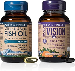 Wiley's Finest Wild Alaskan Fish Oil - Value Pack: Bold Vision for Eye Health (60 Softgels) Plus Peak EPA, 1000MG EPA + DH...