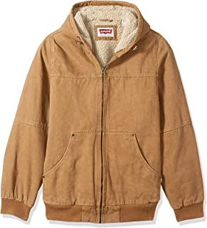 9901f2d7e66 Levi s Men s Size Tall Cotton Canvas Workwear Hoody Bomber with Full Sherpa  Lining