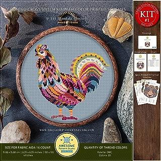 Mandala Chicken #K535 Cross Stitch Kit   Funny Animals Cross Stitch Kits   Cross Stitch World   Needlepoint Kits   Embroidery Designs   Stitch Patterns