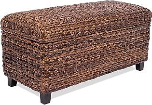 BIRDROCK HOME Abaca Storage Ottoman Bench - Bed Storage Trunk - Espresso Bench - Chest - Safety Hinges