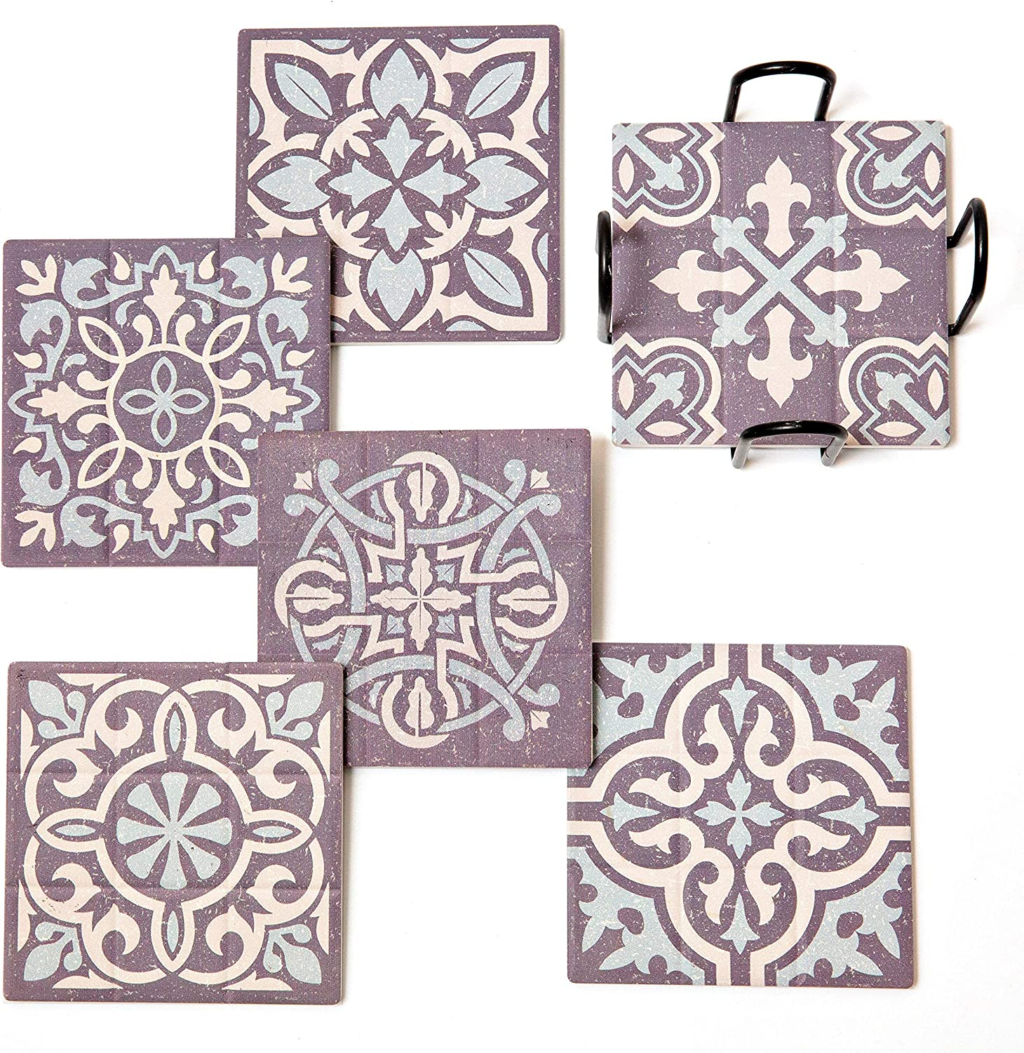 ELIZA COLE Ceramic Stone Coasters with Holder - Set of 6, Wildwood Collection, Cool Coasters for Drinks Absorbent, Pretty Coasters, Farmhouse Coasters, Coasters for Wooden or Glass Table Absorbant