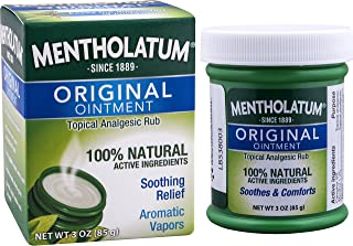 Mentholatum Original Ointment, 3 Ounce (85g) – 100% Natural Active Ingredients for Soothing Relief