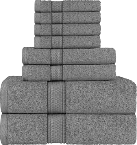 Utopia Towels Premium 8 Piece Towel Set (Dark Grey) - 2 Bath Towels, 2 Hand Towels and 4 Washcloths Cotton Hotel Qual...